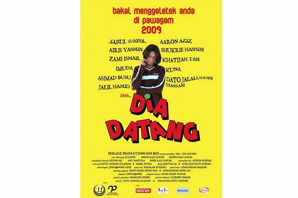 MASIH MENUNGGU: Poster filem pertama arahan Saiful Apek pada 2009. Filem 'Shhh... Dia Datang' tidak dapat ditayangkan mengikut jadual kerana pelbagai masalah dalaman. - Foto MSTAR ONLINE