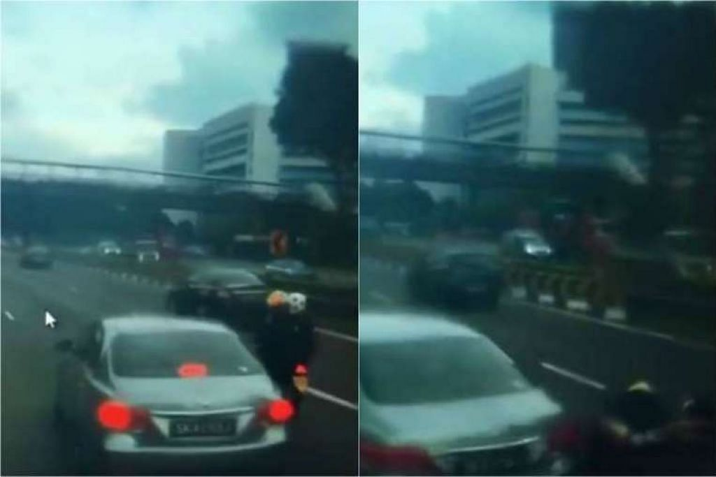 Ho Loong Chan didakwa memandu kereta Toyota Camry-nya di sepanjang Jurong Town Hall tanpa pertimbangan munasabah akan pengguna jalan raya yang lain. GAMBAR: SCREENGRAB DARI FACEBOOK VIDEO