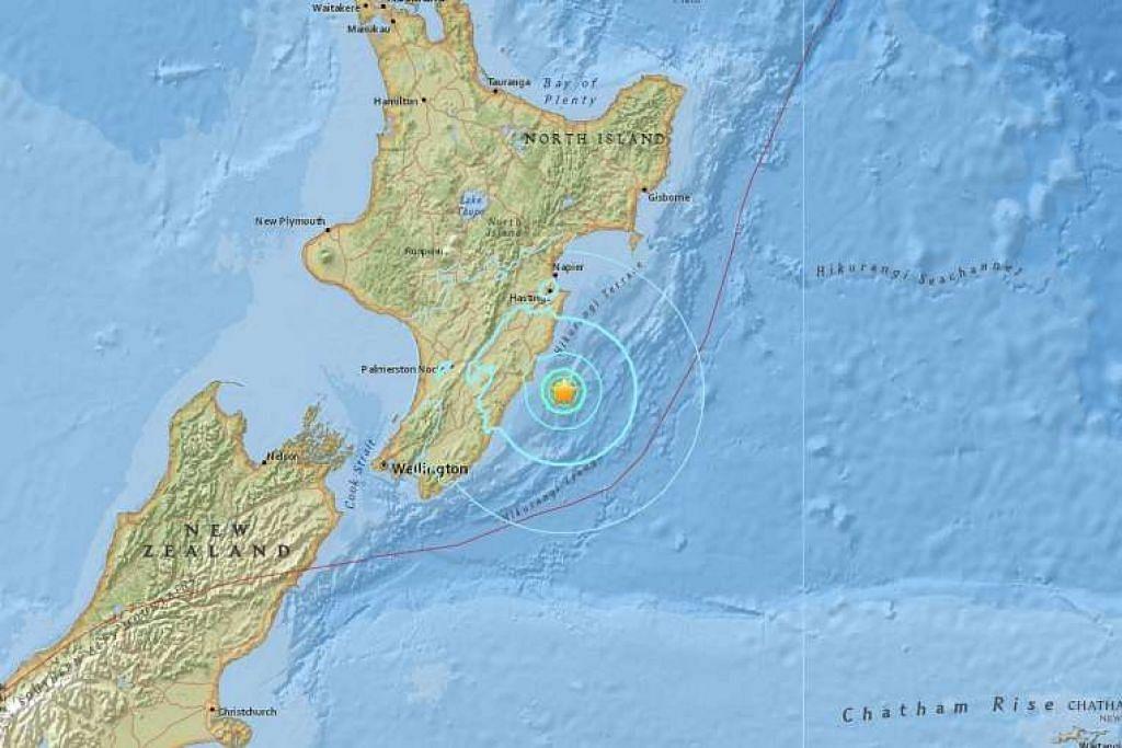 Gempa bumi se,kuat 6.3 pada skala Richter melanda luar perairan Pulau Utara New Zealand pada  Selasa (22 Nov).