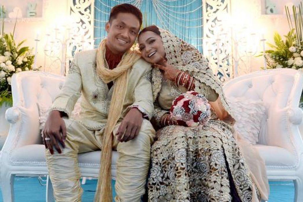 BINA RUMAHTANGGA: Pasangan pengantin baru, Izzdin Shafiq, yang merupakan bekas pemain LionsXII dan Nurul Farhana Mohamed Saleh, sentiasa menyokong satu sama lain tidak kira apa yang terjadi. - Foto MOHD TAUFIK A KADER
