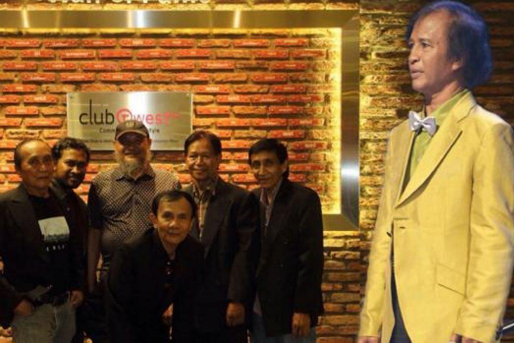 BAKAL JADI KENANGAN MANIS: Penyanyi veteran Datuk Jeffrydin (baju kuning) berharap konsert bersama The Rhythm Boys - terdiri daripada (dari kiri) Mohamad Ali Taib, Iskandar Khairuldin, Sharif Mohd, A. Ramlan, Arshad Abdul Kadir dan Mohamad Arif Taib - yang akan diadakan pada 20 Februari ini mendapat sambutan memberangsangkan. - Foto CENDAWAN KEMBANG SINGAPURA