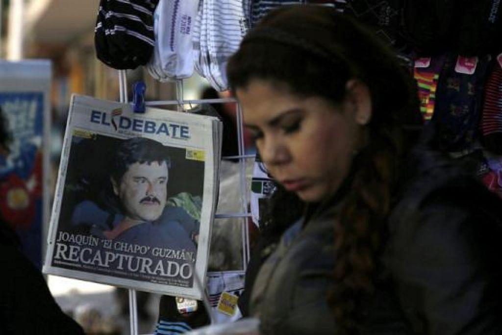 IBARAT SKRIP FILEM: Aktor Hollywood, Sean Penn, berpeluang mewawancara Joaquin 'El Chapo' Guzman yang berita mengenai penangkapannya mendapat liputan meluas di Mexico (gambar). - Foto REUTERS