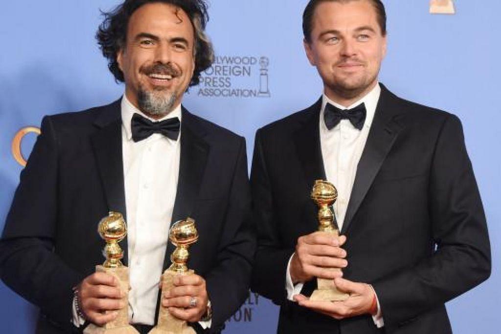 PENCAPAIAN CEMERLANG: Pengarah, Alejandro González Iñárritu (kiri) yang memenangi anugerah Pengarah Terbaik dan Filem Terbaik untuk filem 'The Revenant' kelihatan bergambar bersama pelakon, Leonardo DiCaprio, yang membintangi filem tersebut dan memenangi anugerah Pelakon Lelaki Terbaik. Majlis Anugerah Golden Globe ke-73 berlangsung hari ini di Hotel Beverly Hilton di Beverly Hills, California, Amerika Syarikat. - Foto AFP