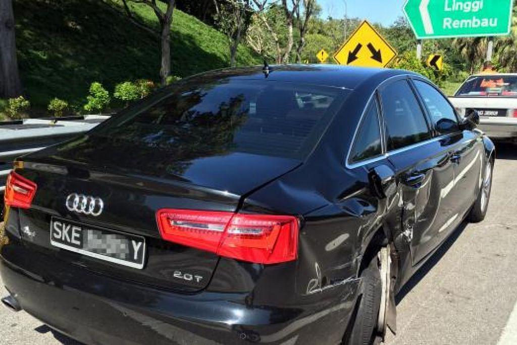 Encik Affandi Salleh merasai penglihatan sekelilingnya kabur sedang beliau cuba mengawal kenderaan itu. Akhirnya, kereta jenis Audi hitam (atas) itu terhenti di tepi jalan raya di Lebuh Raya Utara-Selatan.