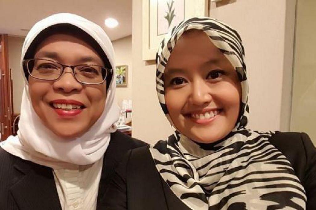 PENGGANTI DI JURONG: Speaker Parlimen, Cik Halimah Yacob (kiri), bersama penggantinya, Cik Rahayu Mahzam, di kawasan undi Bukit Batok East di GRC Jurong. Cik Halimah telah beralih ke GRC Marsiling-Yew Tee dalam pilihan raya umum lalu.