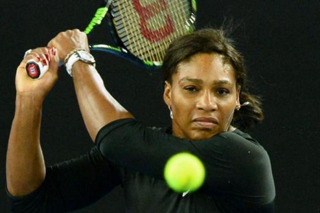 BURU KEJUARAAN PERTAMA 2016: Serena kembali berlatih selepas menarik diri daripada Piala Hopman, bagi menyiapkan diri bagi Terbuka Australia.