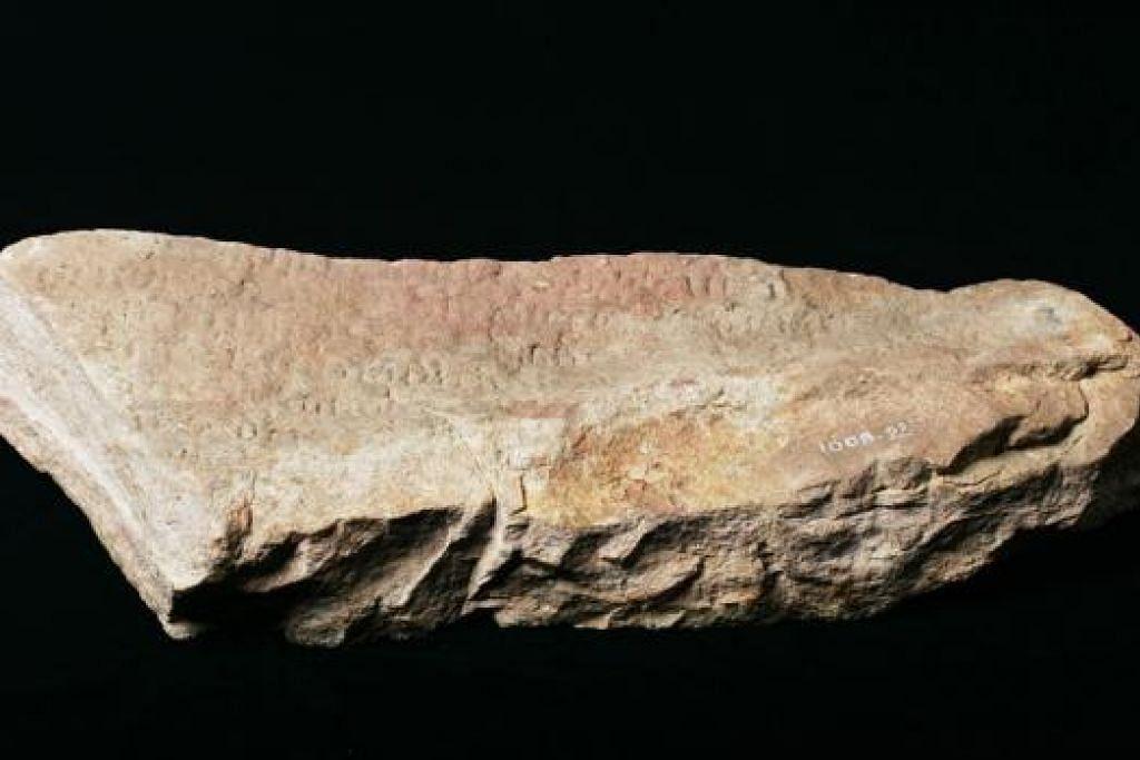 BATU BERSEJARAH: Seketul batu pasir merah dengan ukiran tulisan purba paling awal di Singapura telah ditemui pada 1819 di muara Sungai Singapura berhampiran Hotel Fullerton yang ada sekarang. - Foto MUZIUM NEGARA SINGAPURA