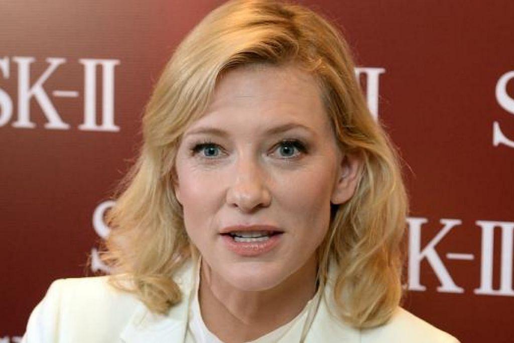 INGIN KURANGKAN KERJA: Tahun ini Cate Blanchett bercadang mengurangkan penglibatannya dalam pekerjaan kerana ingin menumpukan perhatian kepada anak angkat perempuan yang baru diambilnya. - Foto SPH