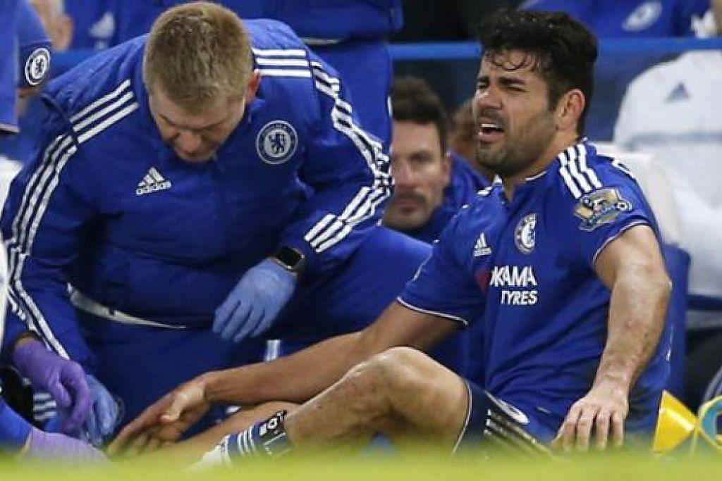 DALAM KESAKITAN: Diego Costa dikejarkan ke hospital dalam keadaan kesakitan semalam. - Foto REUTERS