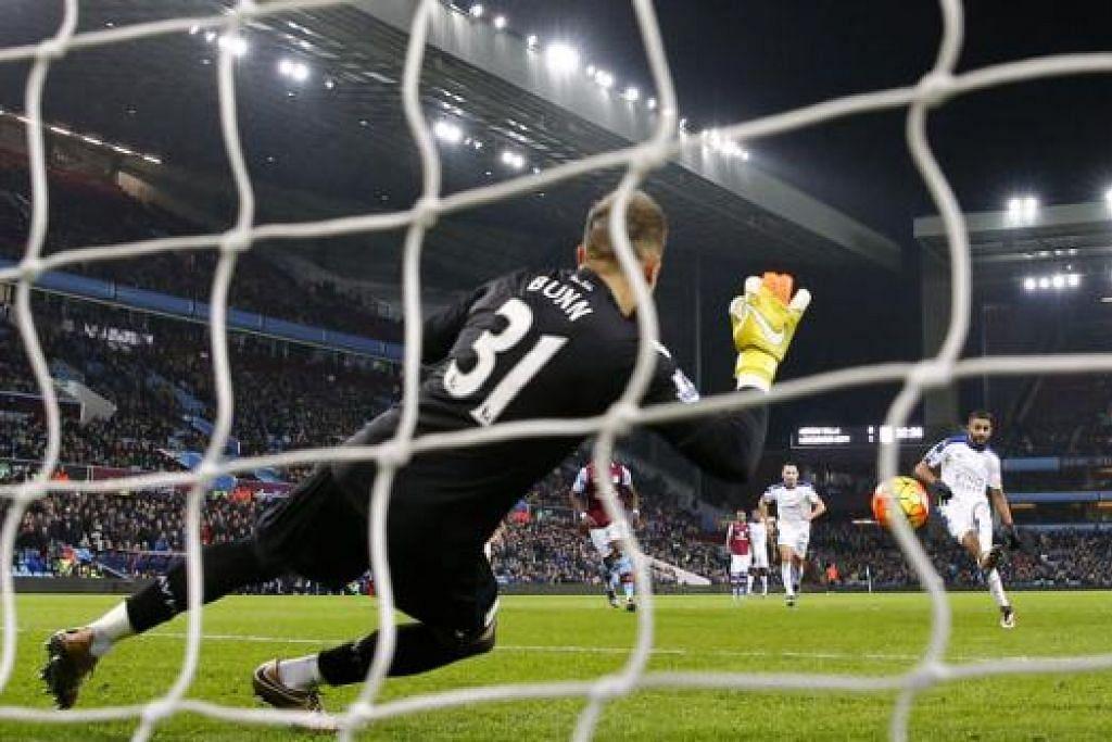 TIDAK MENJADI: Tendangan penalti Riyad Mahrez berjaya diselamatkan penjaga gawang Aston Villa. - Foto REUTERS
