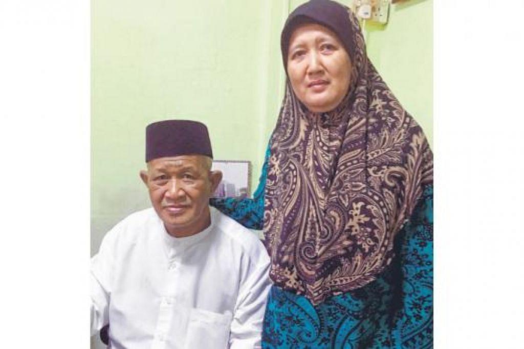 PENYOKONG KUAT: Ustaz Ismail bersama isterinya, Cik Suriyati Pasan, yang terus memberinya sokongan untuk terus belajar dan mengajar.