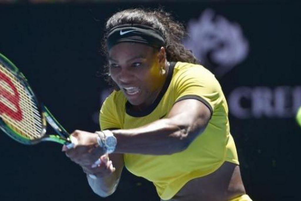 PERKASA: Serena Williams terlalu gagah bagi lawannya. Beliau tidak menunjukkan sebarang tanda kesakitan di lututnya dalam perlawanan pertama semalam. - Foto AFP