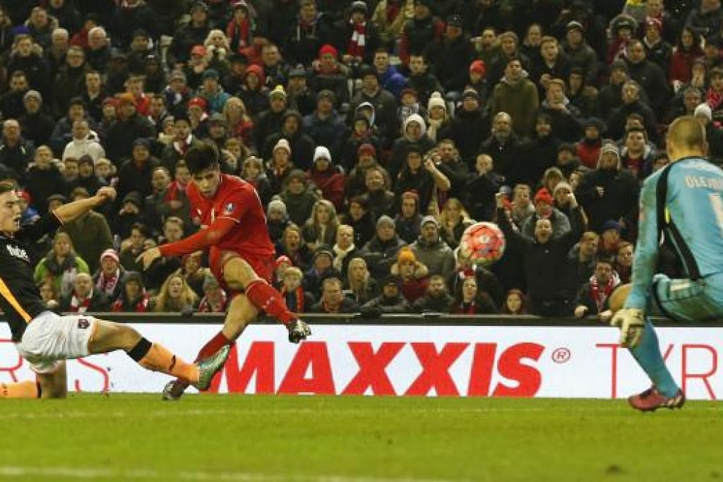 Joao Carlos Teixeira menjaringkan gol ketiga Liverpool dalam kemenangan 3-0 pasukan itu ke atas Exeter City dalam perlawangan ulangan pusingan ketiga Piala Fa di Anfield pada Rabu, 20 Januari. Gambar REUTERS