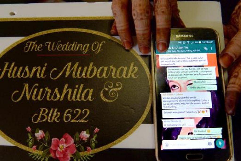 MAJLIS WALIMAH HAMPIR DIBATALKAN: Pasangan Encik Husni Mubarak dan Cik Nurshila mendapat ucapan 'Selamat Tahun Baru' sebelum pemilik syarikat Urbane Wedding Concept menghilangkan diri. - Foto TAUFIK A. KADER