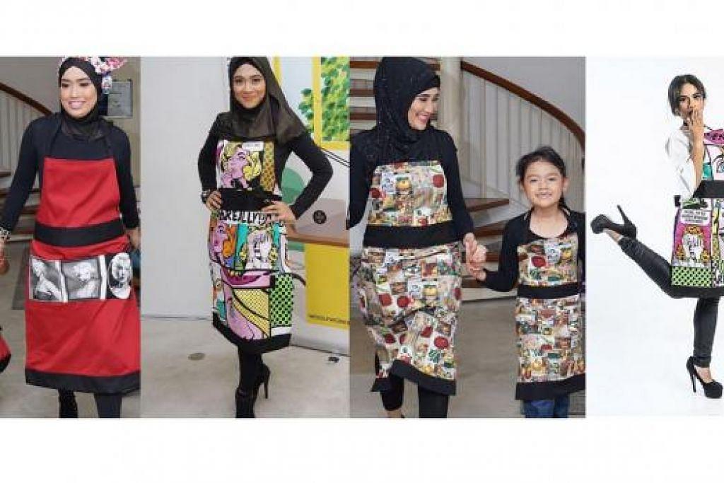 KOLEKSI APRON: Rekaan fesyen apron dengan pelbagai corak yang unik merupakan antara koleksi terbaru jenama Aly Rizq, yang bertujuan menggalak kaum ibu supaya memasak di rumah bagi menjalin hubungan lebih erat dengan keluarga.