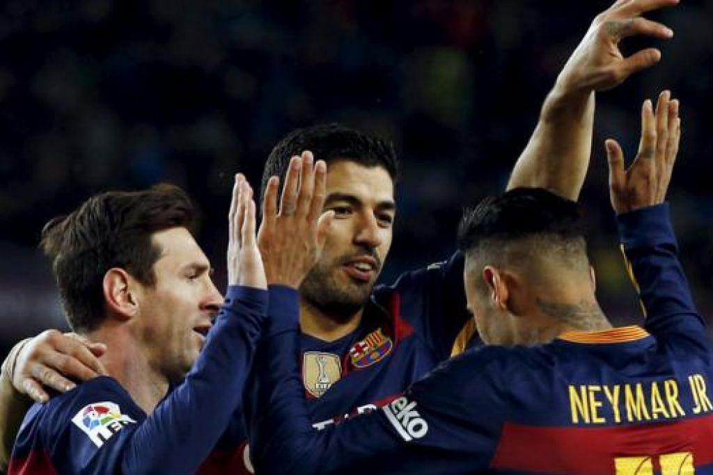 TERLALU HANDAL: (Dari kiri) Trio Lionel Messi, Luis Suarez dan Neymar berbahaya di barisan depan Barcelona. - Foto REUTERS