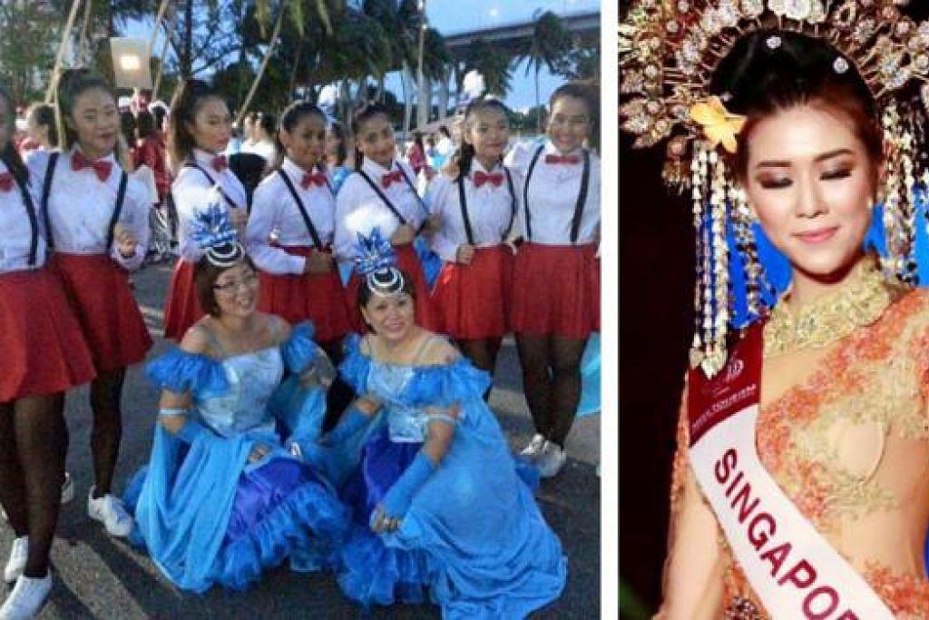 KOSTUM PELBAGAI ACARA: Encik Yusoff menghasilkan kostum buat peserta daripada Persatuan Serani bagi perarakan Chingay 2016 pada esok dan lusa, selain menyediakan busana kebaya dan sanggul goyang bagi peserta pertandingan ratu cantik Singapura, Cik Jojo Tan (kanan), yang memenangi tempat kedua pada pertandingan Miss Tourism Queen 2015 di China. - Foto-foto MIND N BODY ENTERTAINMENT