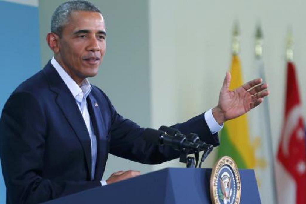 UCAPAN PENUTUP SIDANG: Presiden Barack Obama berucap dalam sidang media di akhir sidang puncak AS-Asean di Sunnylands, Rancho Mirage, California, semalam. - Foto REUTERS