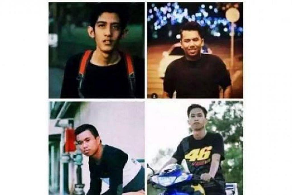 RAKAN BAIK SEJAK KECIL: (Dari atas, kiri, ikut putaran jam) Encik Nik Shakir, Encik Muhammad Asyraf, Encik Abu Izzani dan Encik Luqman dilaporkan hilang sejak lapan hari lalu. - Foto THE STAR