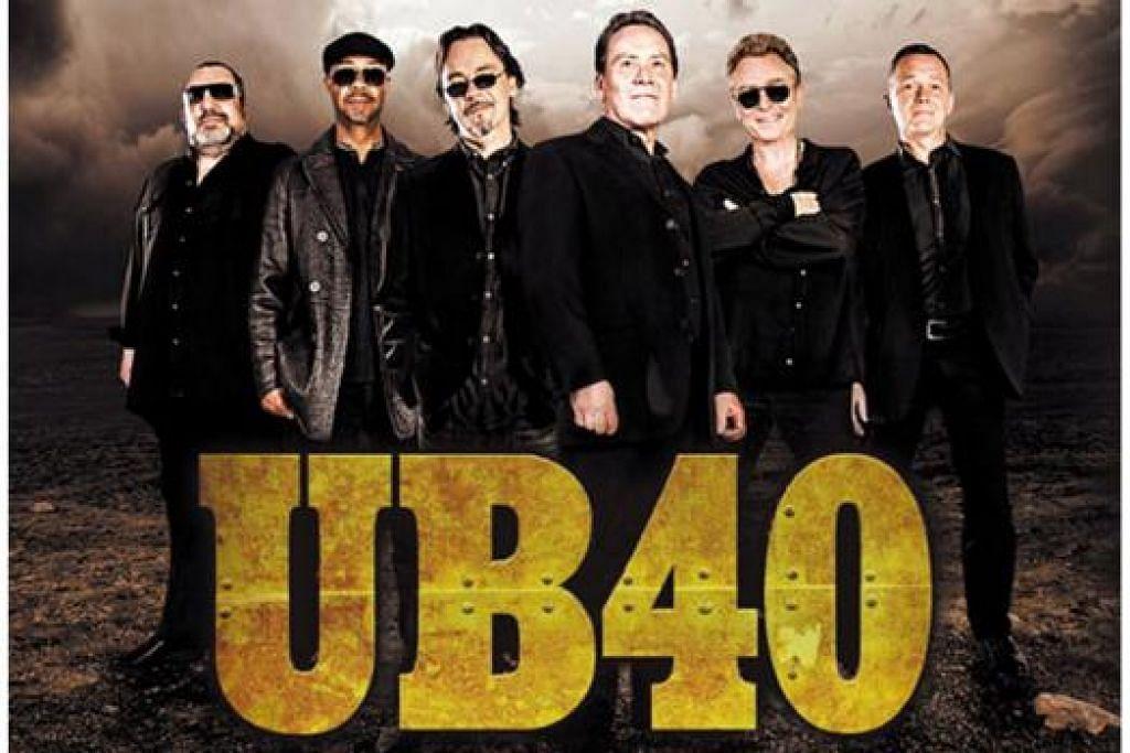 ALUNAN IRAMA REGGAE: Band popular Britain, UB40, yang terkenal dengan konsep reggaenya, akan bertandang ke Singapura pada 2 April ini. - Foto MARGARET WINTER GARDENS