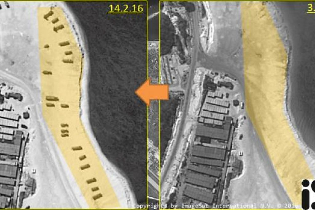 Imej satelit yang diambil pada 3 dan 14  Februari  2016, menunjukkan Pulau Woody, sebuah pulau di Laut China Selatan yang diduduki China dan dituntut beberapa negara lain. Gambar REUTERS