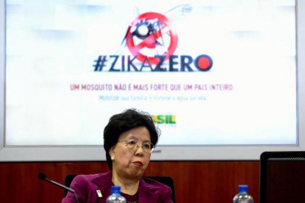 Ketua WHO, Dr Margaret Chan, semasa satu mesyuarat Pusat Pengurusan Risiko dan Bencana Nasional di Brazil pada Rabu (23 Feb). Gambar AFP
