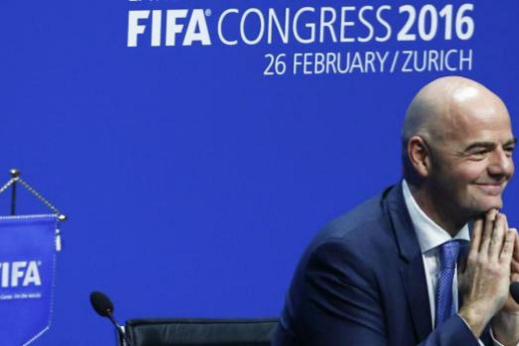 PRESIDEN BARU: Ketua baru Fifa, Gianni Infantino, bercakap kepada media selepas memenangi undian bagi menyandang jawatan presiden baru Fifa awal pagi tadi (27 Februari).