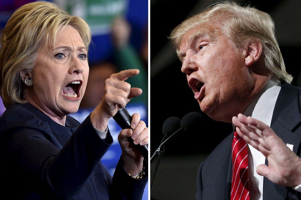 BERSAING HEBAT: Cik Hillary Clinton (kiri) daripada Parti Demokrat tidak berdepan masalah mengetepikan cabaran lawannya, Encik Bernie Sanders, sementara Encik Donald Trump (kanan) daripada Parti Republikan memenangi tujuh daripada 11 negeri, sekali gus menjarakkan diri daripada pencabarnya, Encik Ted Cruz.