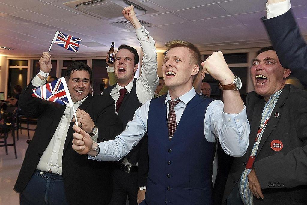 SUKA: Penyokong 'Brexit' menyorak gembira apabila keputusan pungutan suara mengesahkan rakyat Britain mengundi keluar daripada Kesatuan Eropah (EU).
