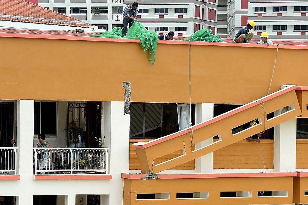 Pengadang matahari blok HDB di Tampines runtuh, tiada kecederaan dilapor