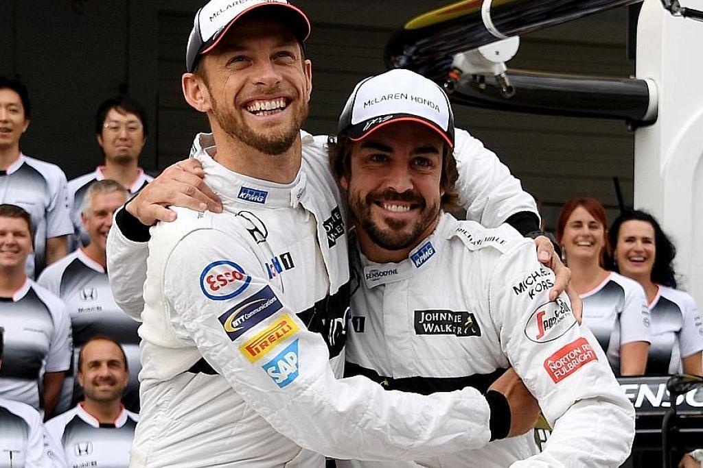 Fernando Alonso (kanan)dan Jensen Button
