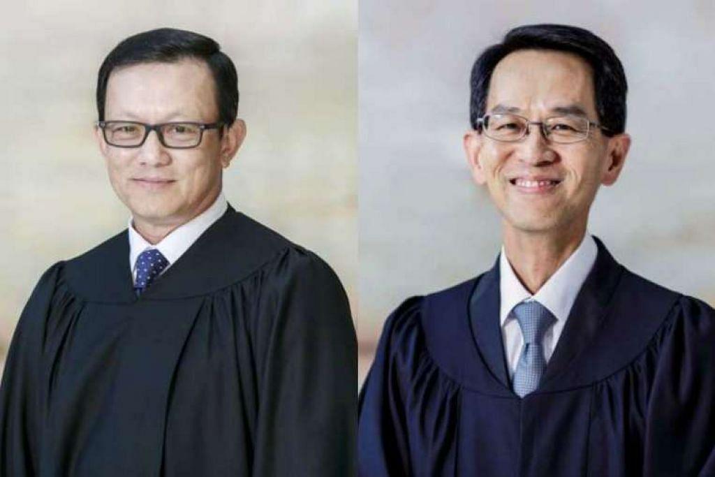 Pesuruhjaya Kehakiman Chua Lee Ming (kiri) dan See Kee Oon  dilantik menjadi Hakim Mahkamah tinggi mulai 31 Jan. .