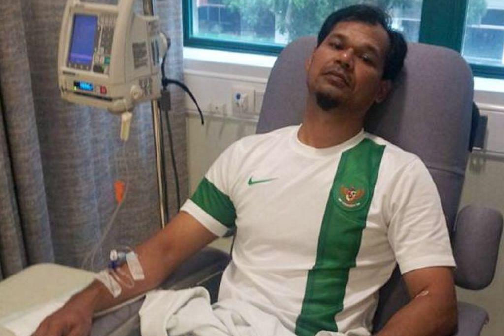 Allahyarham Amin Nasri semasa dirawat di hospital pada 2014