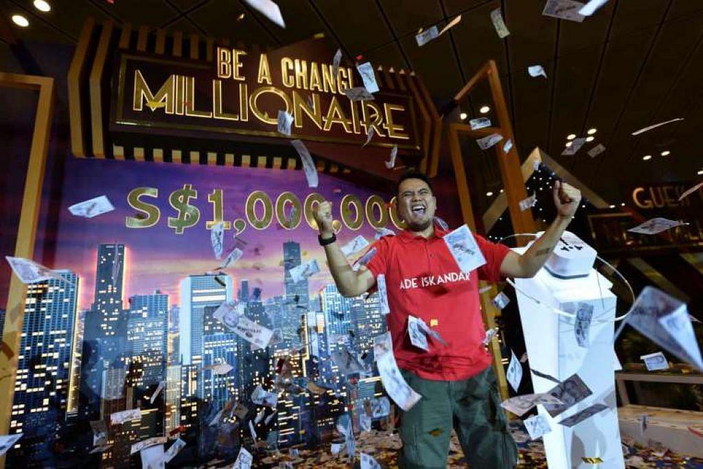 Encik Ade Iskandar Roni menang cabutan $1 juta dengan hanya belanja $51 membeli baju-T untuk teman di Lapangan Terbang Changi.
