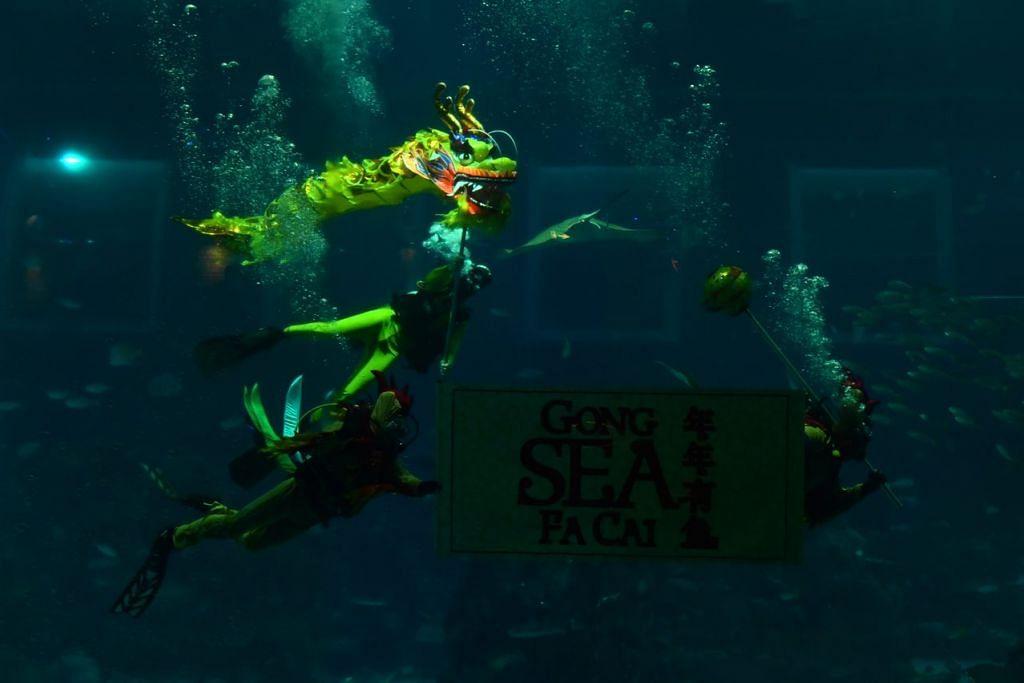 Acara menampilkan persembahan tarian naga oleh penyelam.