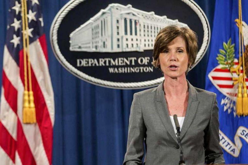 Cik Sally Yates, yang sekarang pemangku peguam negara, bercakap dalam satu sidang akhbar di Jabatan Kehakiman di Washington  pada 28 Jun 2016.  FOTO: NYTimes