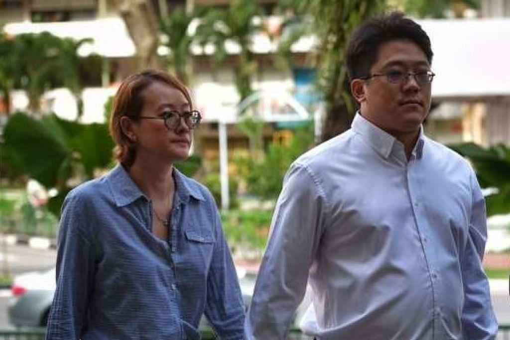 TUDUHAN BERKAITAN DADAH: Ong Jenn tiba di Mahkamah Negara bersama isterinya, semalam. - Foto THE STRAITS TIMES