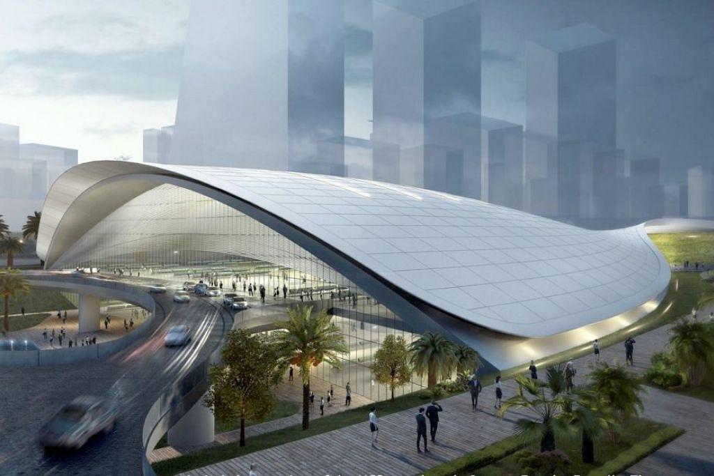 Lakaran artis bagi terminal HSR Kuala Lumpur-Singapura di Jurong East. Reka bentuk akhirnya mungkin berbeza.