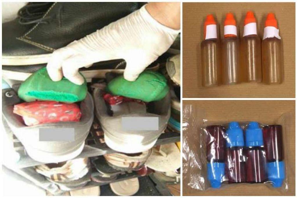 Heroin yang disembunyikan dalam kasut (kiri) dirampas dalam satu operasi pada 8 Feb, manakala bahan yang disyaki minyak ganja sintetik dirampas pada 7 Feb.