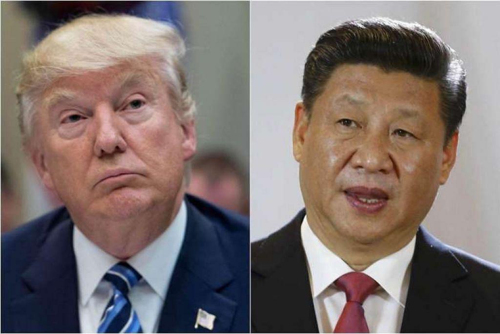 Presiden Donald Trump (kiri) dan Presiden Xi Jinping.