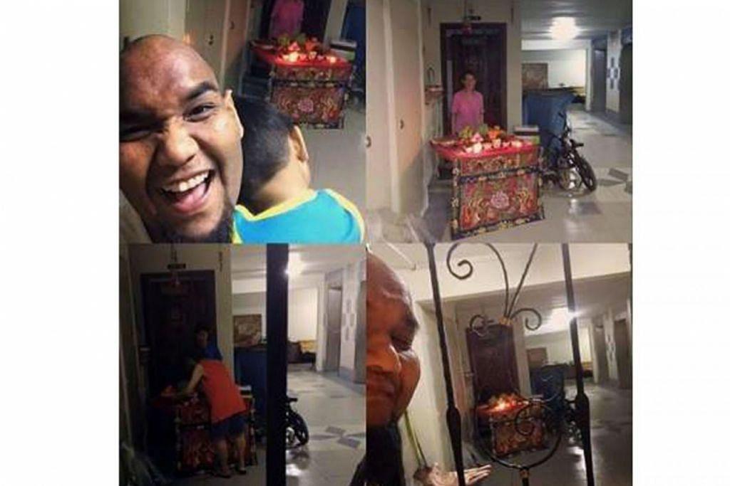 BERBAIK-BAIK SESAMA JIRAN: Pos yang ditulis selebriti Cef Bob mengenai jiran Cinanya yang meminta izin sebelum menyiapkan altar di depan pintu rumahnya (gambar utama) dipuji Encik K. Shanmugam dalam akaun Facebooknya. - Foto ihsan CEF BOB