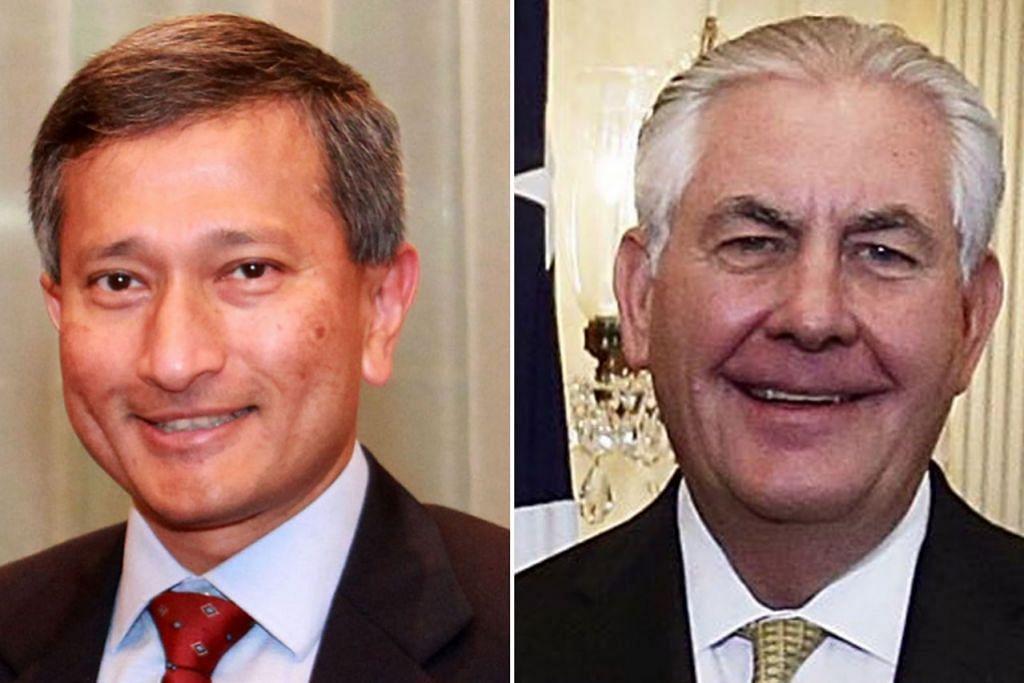 PERKUKUH HUBUNGAN DUA HALA: Dr Vivian Balakrishnan (kiri) dan Encik Rex Tillerson (kanan) berbual melalui telefon bagi mengesahkan hubungan yang sudah terjalin sekian lama antara Singapura dengan Amerika Syarikat. - Foto-foto MFA, AFP