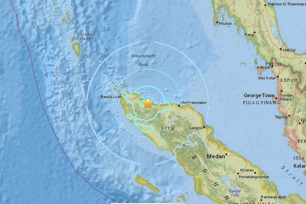 Dua gempa bumi menggegarkan Aceh pada pagi Khamis (16 Feb).