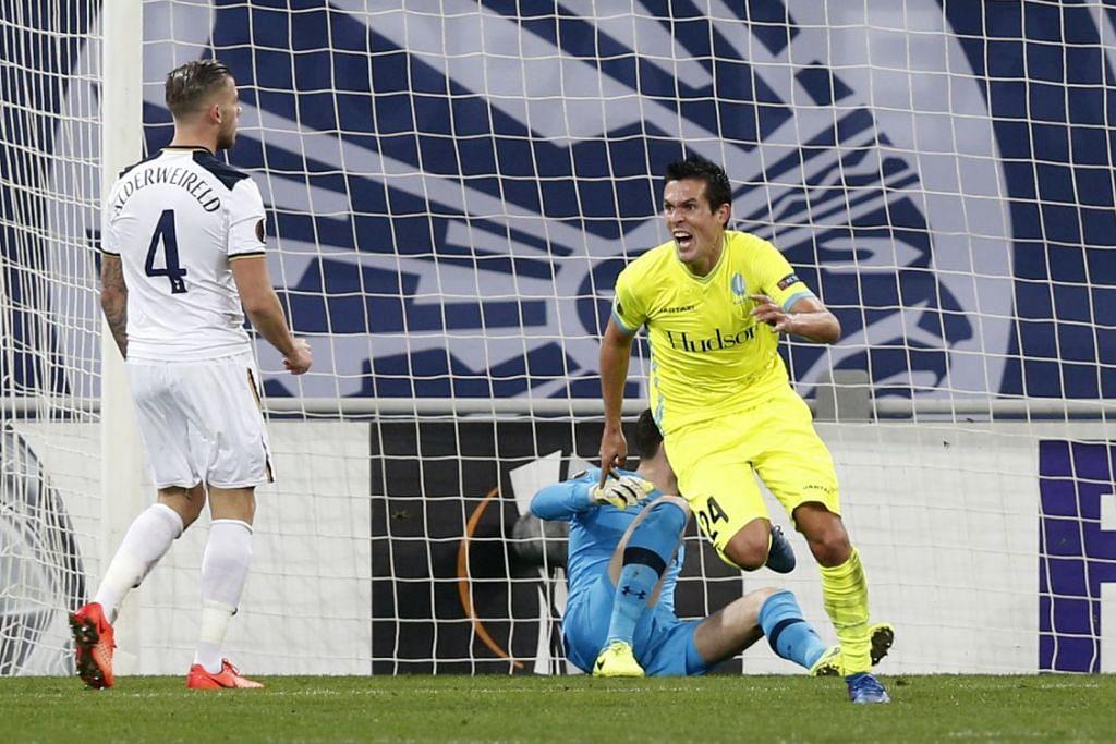 Jeremy Perbet kegembiraan selepas menjaringhkan gol tunggal dalam kemenangan Gent ke atas  Tottenham Hotspur dalam perlawanan pertama mereka bagi pusingan 32 pasukan Liga Europa di Belgium pada Khamis (16 Feb).