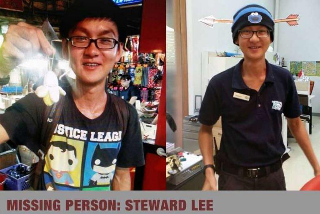 Gambar montaj Encik Steward Lee, 27 tahun, yang dilaporkan hilang pada 17 Feb.