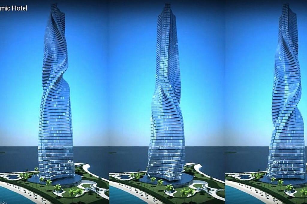 Gambaran artis bangunan Hotel Dynamic Tower Hotel yang akan menjadi pencakar langit berputar pertama di dunia. YOUTUBE / OFFICIALDYNAMICARCH