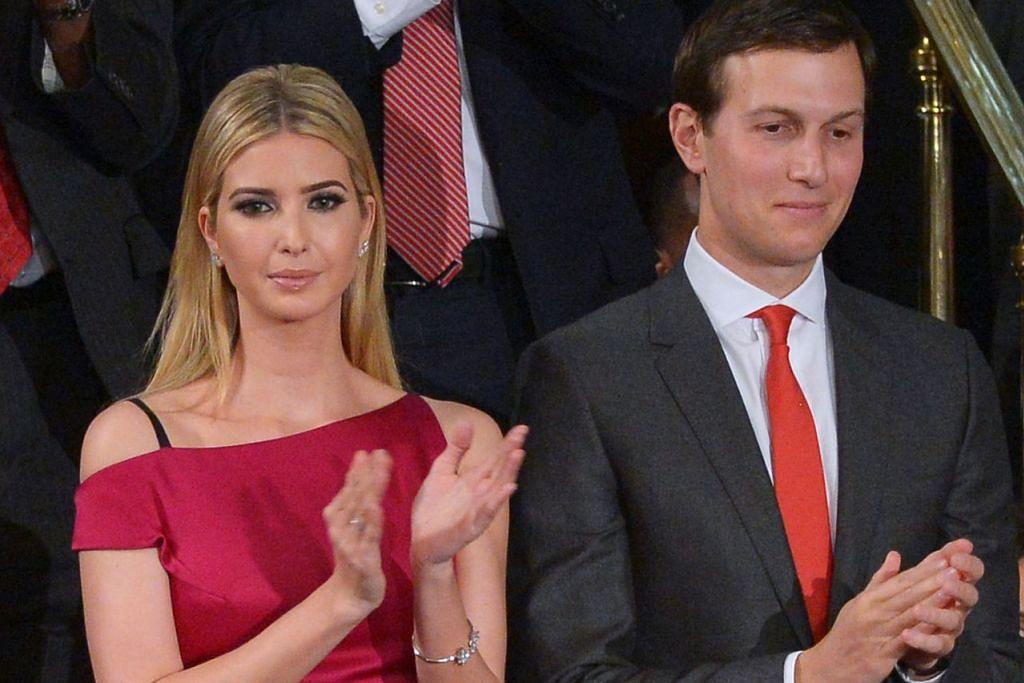 SOKONG BAPA: Cik Ivanka Trump dan suaminya, Encik Jared Kushner, turut hadir apabila Encik Donald Trump memberi ucapan pertamanya di Kongres semalam. – Foto AFP
