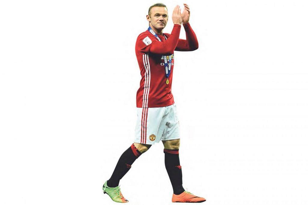 MASA DEPAN PENUH SAMAR: Penyerang Manchester United, Wayne Rooney, mengiktiraf sokongan penyokong pasukan selepas kejayaan United memenangi final Piala Liga di Wembley pada 26 Februari lalu. - Foto AFP