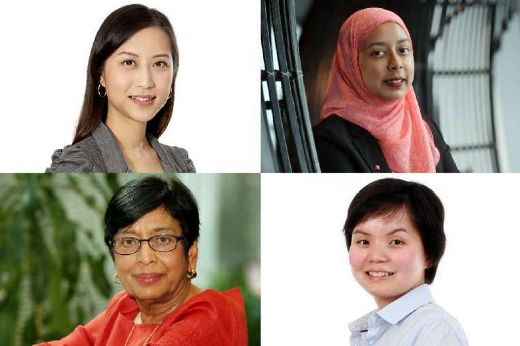 (Dari kiri atas, ikut putaran jam) Dr Tan Yen Nee, Cik Nurul Jihadah Hussain, Dr Sharon Nai dan Dr Kanwaljit Soin adalah beberapa saintis wanita dan jurutera.