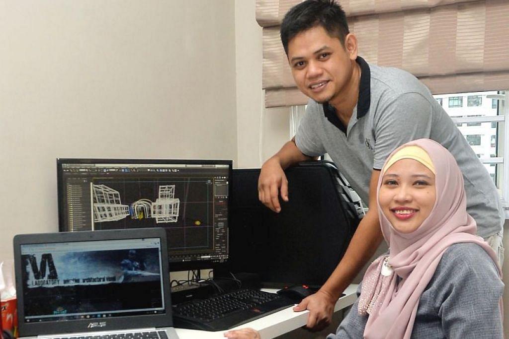 MELEBARKAN SAYAP: Encik Zubri dan isteri, Sharifah Nor Baizura, membentuk cabang perniagaan bidang animasi diberi nama VA Studios di sini selepas menstabilkan perniagaan di Malaysia. – Foto KHALID BABA